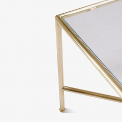 Brass and Glass Tubular Square Cocktail Table - 326770
