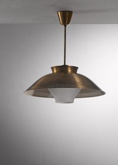 Brass and opaline glass pendant - 2128488