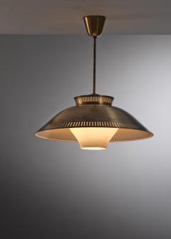 Brass and opaline glass pendant - 2128489