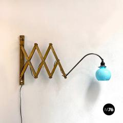 Brass wall lamp with blue glass 1900s - 2102724