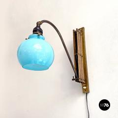 Brass wall lamp with blue glass 1900s - 2102725