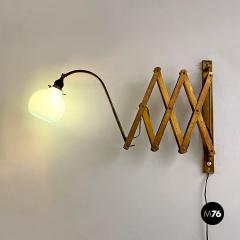 Brass wall lamp with blue glass 1900s - 2102726