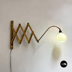 Brass wall lamp with blue glass 1900s - 2102727