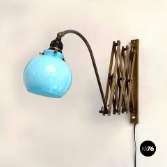 Brass wall lamp with blue glass 1900s - 2102728