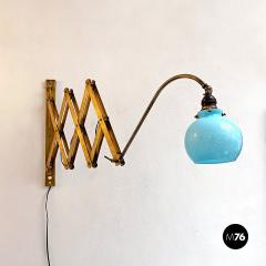 Brass wall lamp with blue glass 1900s - 2102749