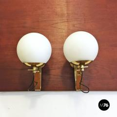 Brass wall lamps with lampshade in opal glass 1950s - 2034826