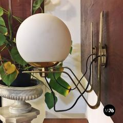 Brass wall lamps with lampshade in opal glass 1950s - 2034831