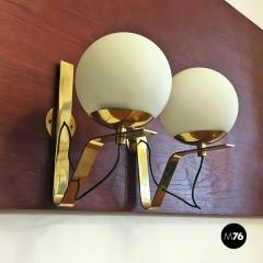 Brass wall lamps with lampshade in opal glass 1950s - 2034867