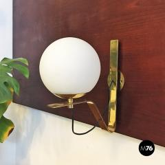Brass wall lamps with lampshade in opal glass 1950s - 2034879