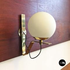 Brass wall lamps with lampshade in opal glass 1950s - 2034902