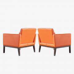 Brayton International Collection Brayton International Club Chairs in Orange Leather Pair - 1652950