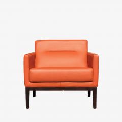 Brayton International Collection Brayton International Club Chairs in Orange Leather Pair - 1652952