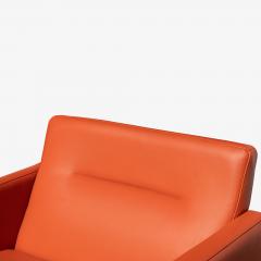 Brayton International Collection Brayton International Club Chairs in Orange Leather Pair - 1652953