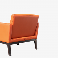 Brayton International Collection Brayton International Club Chairs in Orange Leather Pair - 1652955