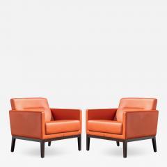Brayton International Collection Brayton International Club Chairs in Orange Leather Pair - 1656168