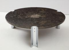 Brazilian Limestone and Chrome Coffee Table with Fossils 1970s - 1255969