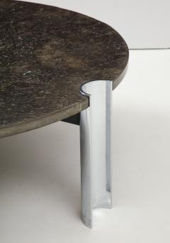 Brazilian Limestone and Chrome Coffee Table with Fossils 1970s - 1255971