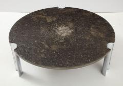 Brazilian Limestone and Chrome Coffee Table with Fossils 1970s - 1255972