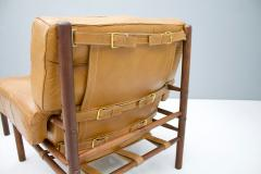 Brazilian Lounge Chair with Ottoman in Cognac Brown Leather 1970s - 1351631