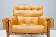 Brazilian Lounge Chair with Ottoman in Cognac Brown Leather 1970s - 1351632