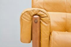 Brazilian Lounge Chair with Ottoman in Cognac Brown Leather 1970s - 1351633