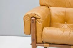 Brazilian Lounge Chair with Ottoman in Cognac Brown Leather 1970s - 1351637