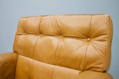 Brazilian Lounge Chair with Ottoman in Cognac Brown Leather 1970s - 1351639