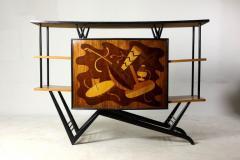 Brazilian Mid Century Modern Musical Theme Marquetry Dry Bar Brazil 1950s - 1423574