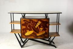 Brazilian Mid Century Modern Musical Theme Marquetry Dry Bar Brazil 1950s - 1423577