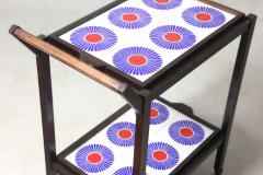Brazilian Mid Century Modern Tiled Tea Cart with Removable Trays Brazil 1960s - 1412825