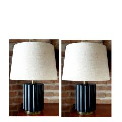 Brazilian Modernist Lamps in Ebonized Wood and Bronze - 1826676