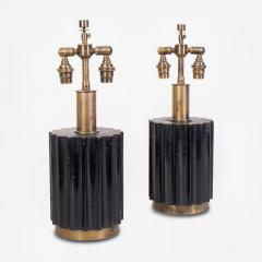 Brazilian Modernist Lamps in Ebonized Wood and Bronze - 1826678