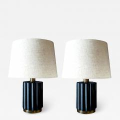 Brazilian Modernist Lamps in Ebonized Wood and Bronze - 1827262