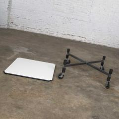 Brian Kane Post modern white laminate metal low coffee table or end table on casters - 1765206