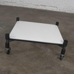 Brian Kane Post modern white laminate metal low coffee table or end table on casters - 1765223