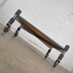 Brian Kane Post modern white laminate metal low coffee table or end table on casters - 1765232
