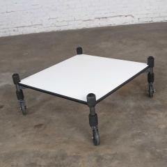 Brian Kane Post modern white laminate metal low coffee table or end table on casters - 1765240