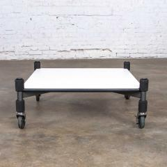 Brian Kane Post modern white laminate metal low coffee table or end table on casters - 1765246