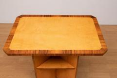 British Art Deco Satin Birch Side Table bookcase with walnut trims c 1930 - 1744362