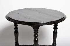 British Colonial Black Round Table with Turned Legs - 1304820