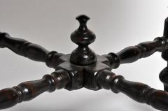 British Colonial Black Round Table with Turned Legs - 1304821