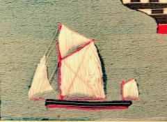 British Sailors Folk Art Woolwork With Trapunto Sails - 1773311