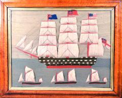 British Sailors Folk Art Woolwork With Trapunto Sails - 1773312