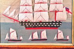 British Sailors Folk Art Woolwork With Trapunto Sails - 1773313