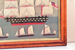 British Sailors Folk Art Woolwork With Trapunto Sails - 1773314
