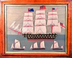 British Sailors Folk Art Woolwork With Trapunto Sails - 1773316