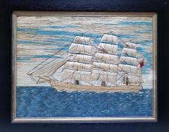 British Sailors Pearled Cotton P icture of a Merchant Navy Ship - 1773305
