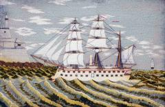 British Sailors Woolwork Picture of a Ship on Unusual Green Sea - 1794063
