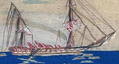 British Sailors Woolwork Woolie of Ship HMS Bombay on Fire - 1794060