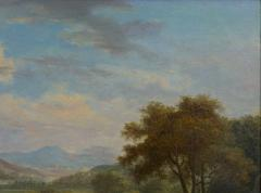 British School 19th C Antique Oil Landscape Painting of A Hunting Party  - 1089230